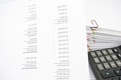 Profit loss statement with finance statement and calculator. Profit and loss statement with finance statement and calculator on pile of paperwork as background Royalty Free Stock Photography