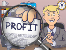 Profit through Magnifying Glass. Doodle Style. Royalty Free Stock Images
