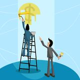 Profit making Concept. Businessman painting dollar, Profit making Concept Stock Photography