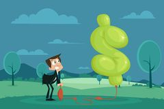 Profit Making. Easy to edit vector illustration of businessman pumping air in dollar shape balloon Royalty Free Stock Photos