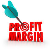 Profit Margin Arrow in Target Competing Money. Profit Margin arrow in target bulls-eye to illustrate aiming for increased net profits and earning for a business Royalty Free Stock Images