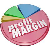 Profit Margin Pie Chart Money Revenue Growth. Profit Margin words on a pie chart measuring your growing or increasing net revenue earned after costs Royalty Free Stock Photography