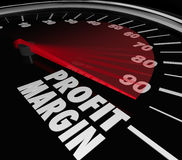 Profit Margin Speedometer Measuring Rising Income. Profit Margin words on a speedometer with needle racing to illustrate fast rise in net income or money Royalty Free Stock Photography
