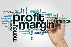 Profit margin word cloud. Concept on grey background Stock Images