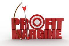 Profit Margin Words with bow and arrow Stock Image