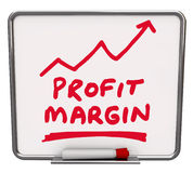 Profit Margin Words Dry Erase Board Arrow. Profit Margin words and an arrow rising drawn on a dry erase board with red marker or pen to illustrate an increase in Stock Photos