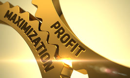 Profit Maximization on Golden Metallic Cog Gears. 3D. Stock Image