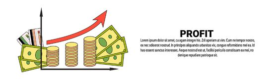 Profit Money Growth Finance Success Business Concept Horizontal Banner With Copy Space. Vector Illustration Royalty Free Stock Image
