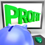 Profit On Monitor Shows Successful Business Royalty Free Stock Images