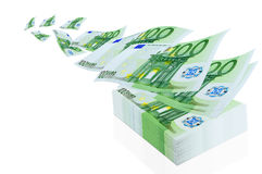 Profit. Operation with the euro currency - cashing, exchange, purchase and sale Stock Images
