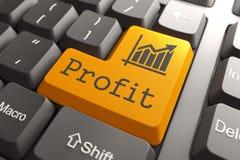 Profit on Orange Keyboard Button. Profit with Growth Chart Icon on Orange Keyboard Button Stock Photography