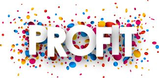 Profit paper card with confetti. Profit paper card with glossy colorful confetti. Vector illustration Royalty Free Stock Photography