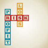 Profit and related word. Profit, loss and risk word block stock Royalty Free Stock Images