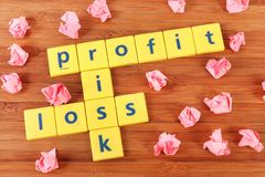 Profit risk and loss stock photos