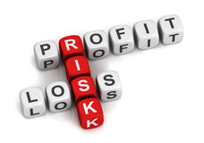 Profit risk loss cubes 3d illustration. On white background Royalty Free Stock Photos