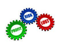 Profit, risk, lost in color gears Stock Photo
