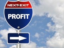 Profit road sign. With cloudy sky royalty free stock image