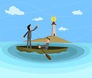 Profit Seeking. Businessmen sailing towards dollar lighthouse, Profit Seeking concept Royalty Free Stock Images