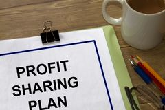 Profit sharing plan concept. Cover page of a document Stock Photo