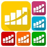 Profit sign graph concept icons set with long shadow. Vector icon Stock Photo
