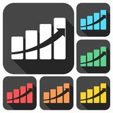 Profit sign graph concept icons set with long shadow. Vector icon Royalty Free Stock Photography