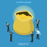Profit snatch business bag coins flat isometric vector 3d. Profit snatch flat 3d isometry isometric business concept web vector illustration. Businessmen around Royalty Free Stock Photo