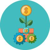Profit strategy concept. Flat design. Icon in turquoise circle on white background Stock Image