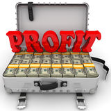 Profit. Suitcase full of money. A suitcase filled with packs of US dollars and red word `PROFIT`. . 3D Illustration Stock Photography