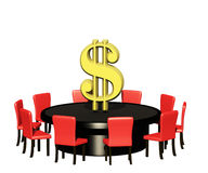 Profit table. Round table with dollar sign in the middle Stock Photography