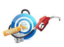 Profit target with a gas pump nozzle Royalty Free Stock Image