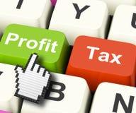 Profit Tax Computer Keys Show Paying Company Taxes Stock Photo
