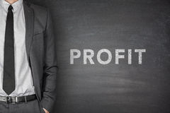 Profit text on blackboard Royalty Free Stock Photo