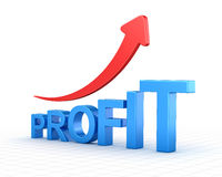 Profit text chart and arrow moving up Royalty Free Stock Image