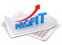 Profit text chart and arrow moving up on paper Royalty Free Stock Photography