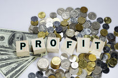 Profit Text and Money - Business Concept Royalty Free Stock Photography