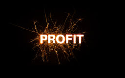 PROFIT title word in glowing sparkler Royalty Free Stock Photos