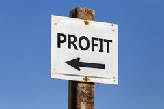 Profit word and arrow signpost Royalty Free Stock Image