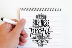 Profit word cloud collage. Over notepad background royalty free stock photo