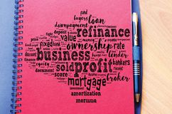 Profit word cloud collage. Over notepad background stock image