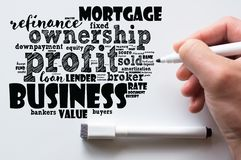 Profit word cloud collage. Over whiteboard background stock photo