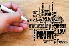 Profit word cloud collage. Over wooden background stock photos