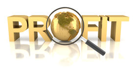Profit word with golden globe and magnifying glass Royalty Free Stock Photos