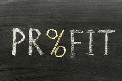 Profit. Word handwritten on school blackboard with % sign Stock Images