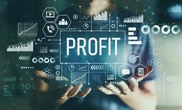 Profit with young man. In the night stock image