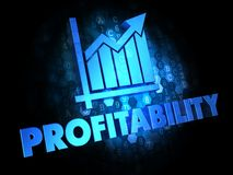 Profitability Concept on Dark Digital Background. Profitability with Growth Chart - Blue Color Text on Dark Digital Background Stock Photos