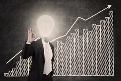 Profitable bar chart with lightbulb head man Stock Photography