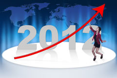 Profitable business year. Graphic of target business profit on year 2012 Royalty Free Stock Photography