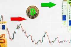 Profitable investment of virtual money bitcoin. Green red arrow and silver Bitcoin on paper forex chart index rating go up on. Profitable investment of virtual royalty free stock photography