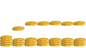 Profitable money rain. Graphic animation a lot of gold coins fall from above to the pile below
