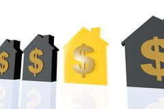 Profitable Property Investment. 3d render illustration of several house symbol and a golden one representing profit in property business Stock Images